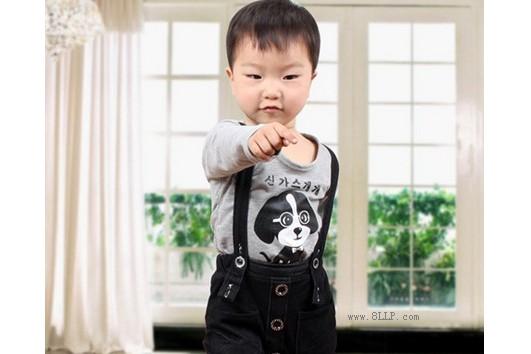 背带裤衬衫两件套