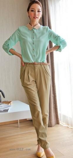 雪纺衬衫+休闲裤子+腰带三件套装