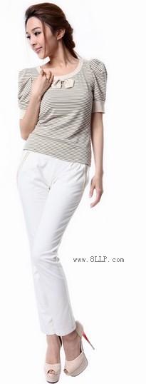 修身条纹蝴蝶泡泡袖T恤
