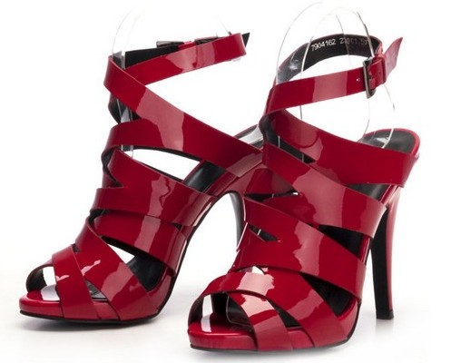 性感交叉漆皮高跟鞋