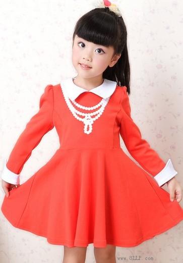 长袖纯色公主裙