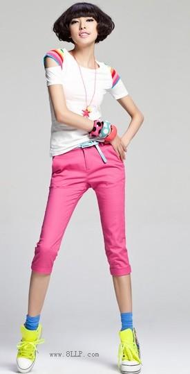 糖果色显瘦七分裤