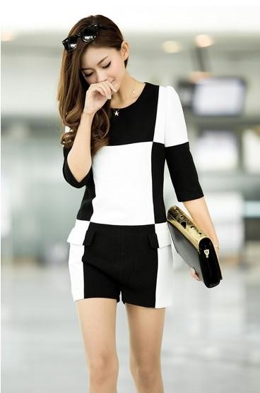 黑白格修身中袖连体裤