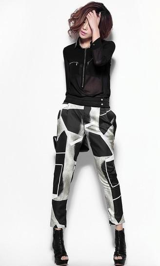 哥特风抽象几何图案哈伦裤