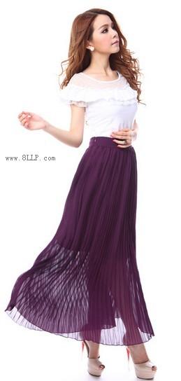 夏季雪纺半身长裙