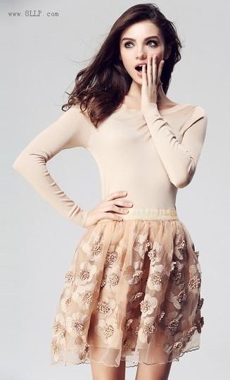 欧根纱长袖连衣裙