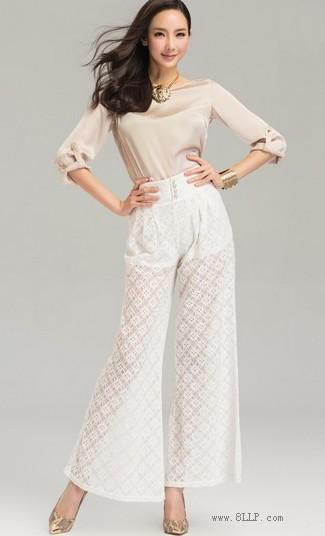 蕾丝镂空阔腿裤