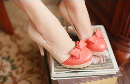 甜美拼色蝴蝶结高跟单鞋