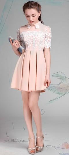蕾丝翻领连衣裙
