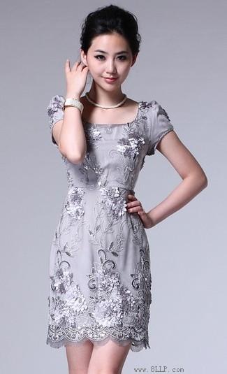 立体绣花蕾丝OL连衣裙