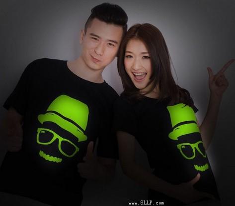 个性夜光情侣短袖T恤
