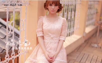 五分袖甜美蕾丝洋装