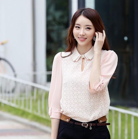 蕾丝雪纺衬衫