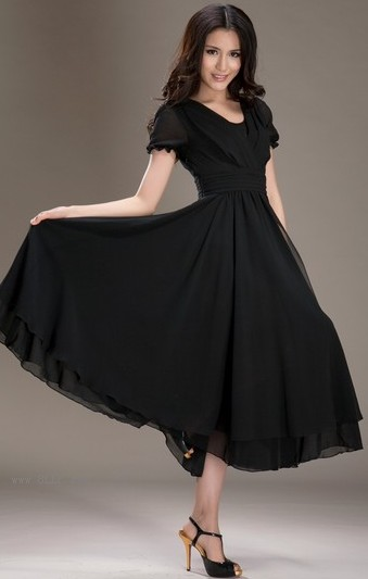 V领雪纺连衣裙