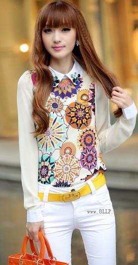 印花雪纺长袖衬衫