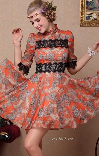 蕾丝收腰复古公主裙