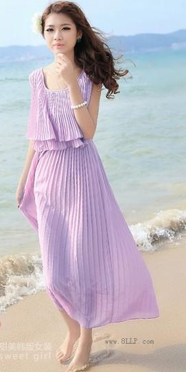 纯色褶皱长裙
