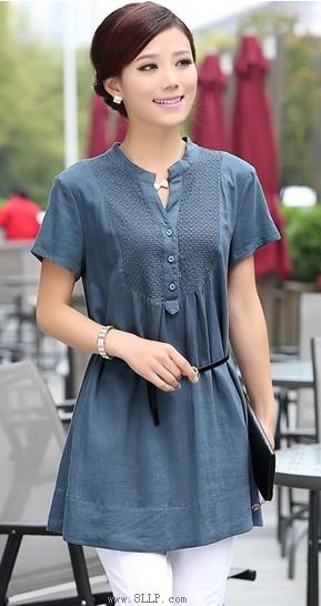 纯色中长款棉麻衬衫
