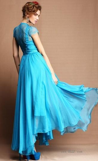 蕾丝雪纺长裙