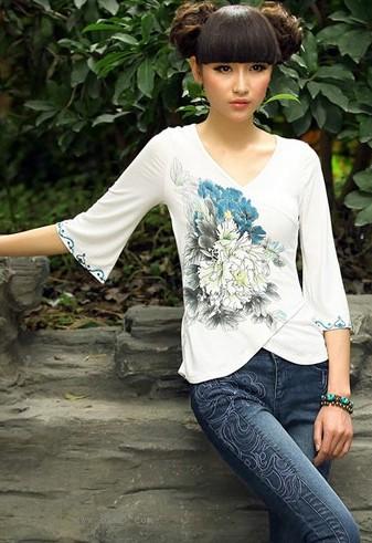 水浆印花中式斜襟T恤
