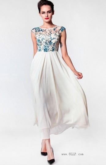 蕾丝植绒花拼接雪纺连衣裙