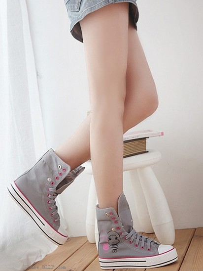 高邦帆布松糕鞋