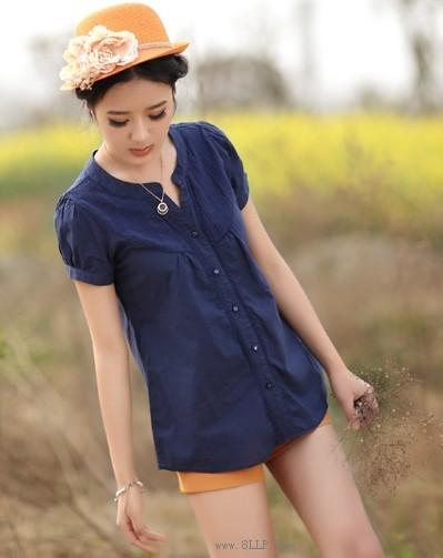 棉麻短袖衬衫