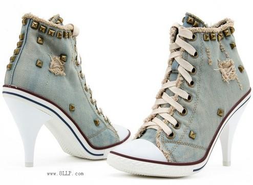 牛仔帆布高跟鞋