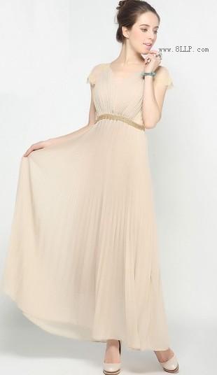 V领雪纺长裙