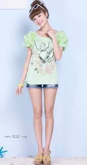 素描印花花边袖圆领T恤