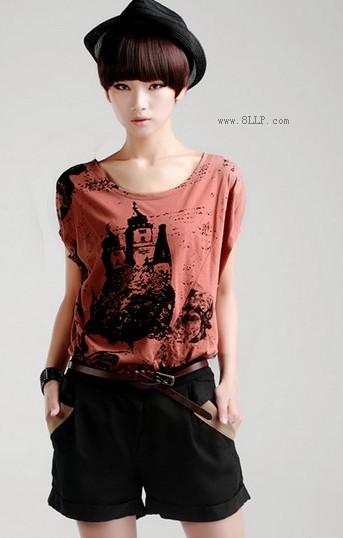 纯棉文艺圆领手绘T恤