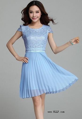 蕾丝百褶雪纺长裙