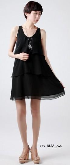 A字裙摆雪纺蛋糕裙