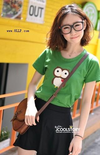 猫头鹰刺绣短袖T恤