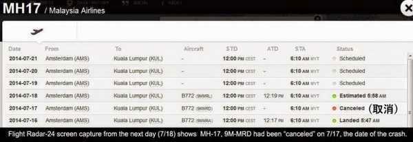 被击落的马航MH17就是失踪的MH370?
